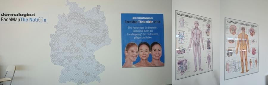 """Foto 1: """"Face Map"""", das ist das Dermalogica Hautanalyse Verfahren; es heißt dann nicht nur """"Mischhaut"""", sondern hier wird die Haut gleich in 14 Zonen unterteilt und analysiert, wird bei allen dermalogica Kosmetikerinnen durchgeführt. Foto 2 & 3: Wand im dermalogica Schulungsstudio"""