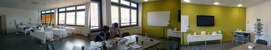 Foto 1-3: dermalogica Schulungsstudio Düsseldorf, Behandlungsraum aus verschiedenen Perspektiven, Bild Foto Mitte: Rechts Maria Grammatika mit einer Kollegin