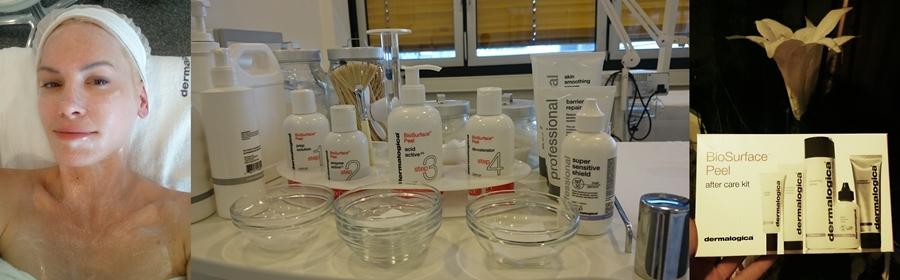 Foto 1: Während des Peelings, 2: BioSurface Peel-Produkte, 3: Nachsorge-Kit