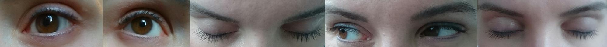 Bild 1 und 2 Wimpern vorher ungeschminkt, Nahaufnahme; Bild 3,4,5 nach 6Wochen, ungeschminkt, Nahaufnahme