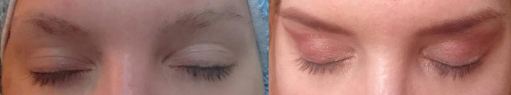 links vorher- rechts nachher- (Augenbrauen mit Puder aufgefüllt)