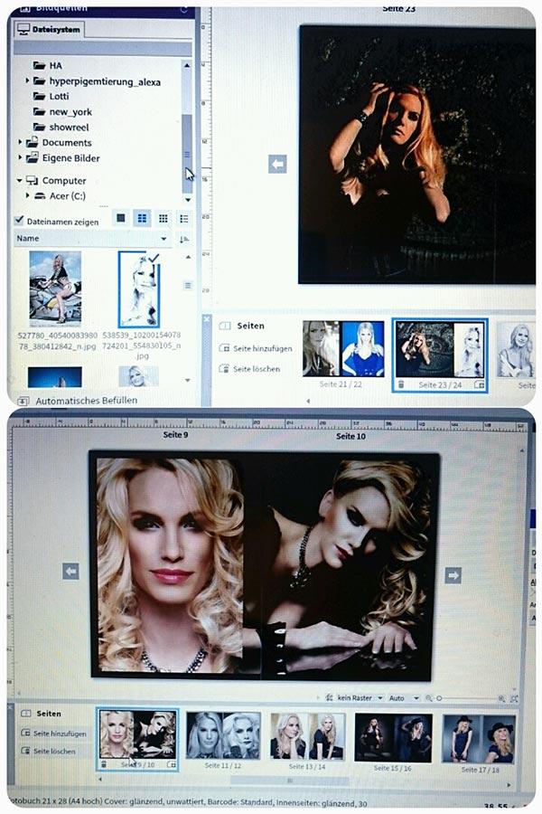 Links kann man den Ordner anklicken, aus dem die Fotos ausgewählt werden. Unten in der Leiste sieht man die einzelnen Seiten und die Fotos (Saal Digital)